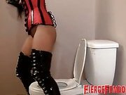 Mistress piss and her slave cleans her