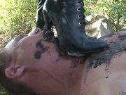 Dirty muddy boot