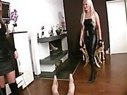 Two blonde german mistress whipping and torturing